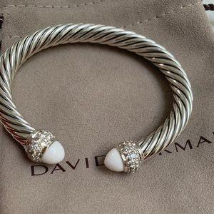 White Sterling Silver Diamond Agate Cable Cuff
